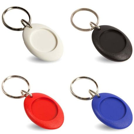 CR-ZD Mixed Colours Round Blank Plastic Photo Insert Keyring - 25mm Thumbnail